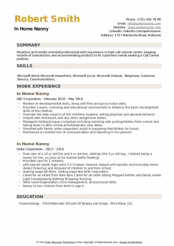 In Home Nanny Resume example