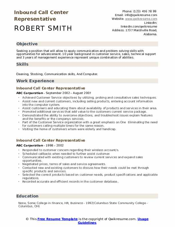 Inbound Call Center Representative Resume Format