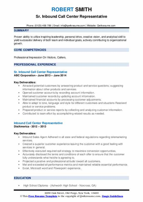 Sr. Inbound Call Center Representative Resume Format