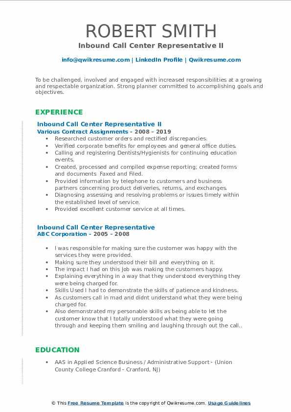 Inbound Call Center Representative II Resume Model