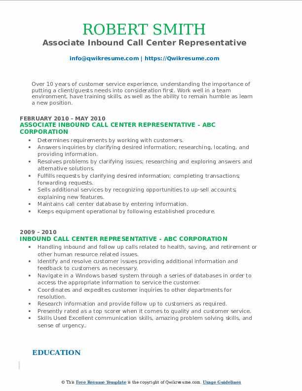 Associate Inbound Call Center Representative Resume Example