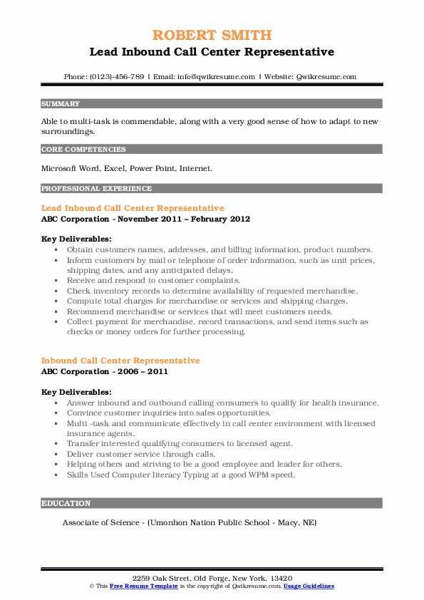 Lead Inbound Call Center Representative Resume Sample