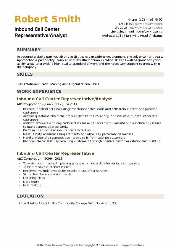 Inbound Call Center Representative/Analyst Resume Format
