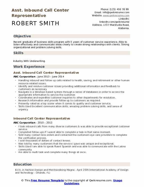 Asst. Inbound Call Center Representative Resume Model