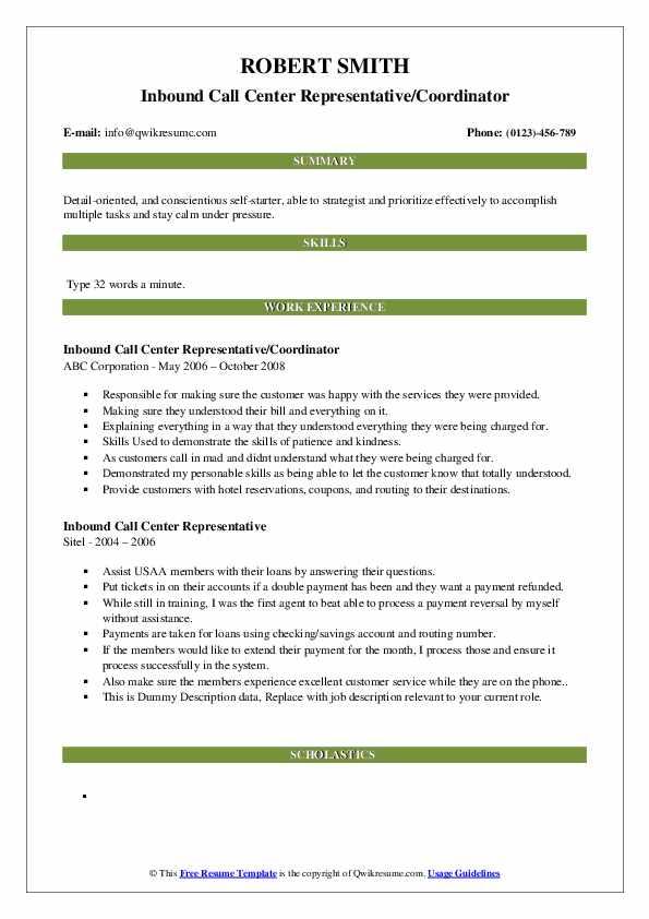 Inbound Call Center Representative/Coordinator Resume Sample