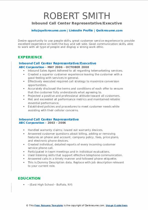 Inbound Call Center Representative/Executive Resume Format