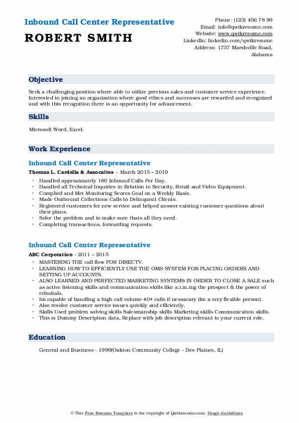 Inbound Call Center Representative Resume example