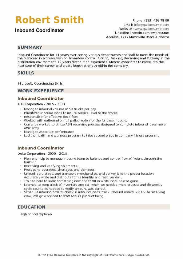 Inbound Coordinator Resume example