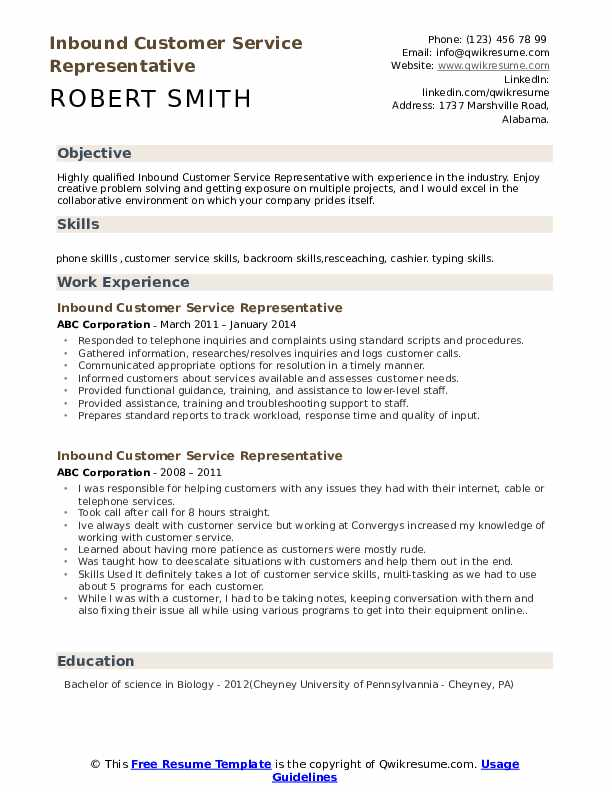 Inbound Customer Service Representative Resume Model