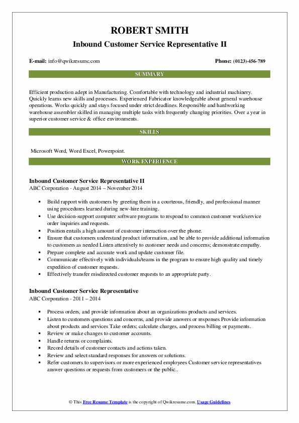 Inbound Customer Service Representative II Resume Model