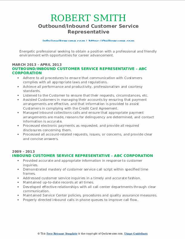 Outbound/Inbound Customer Service Representative Resume Template
