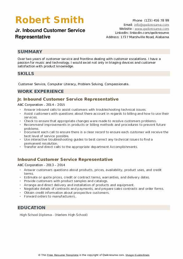 Jr. Inbound Customer Service Representative Resume Model
