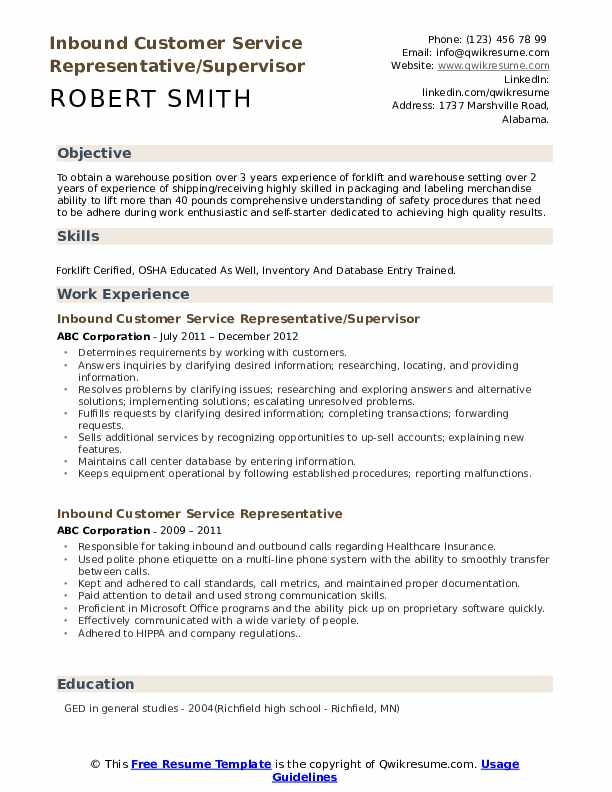 Inbound Customer Service Representative/Supervisor Resume Example