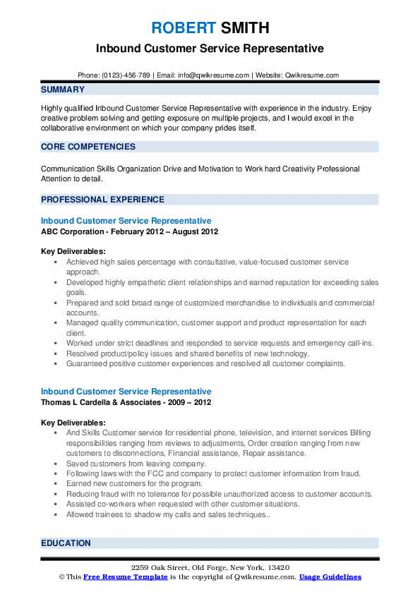 Inbound Customer Service Representative Resume example