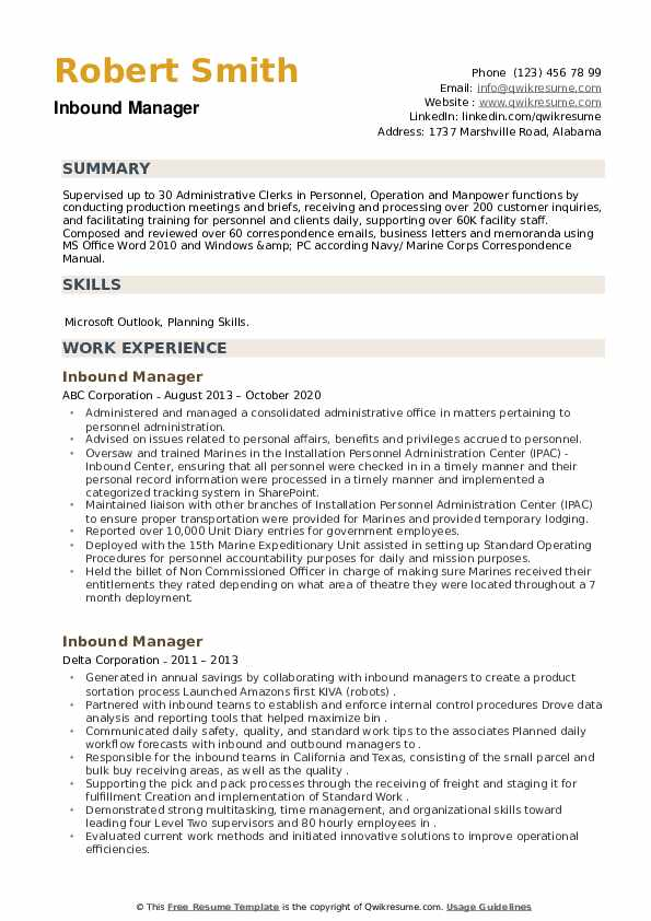 Inbound Manager Resume example