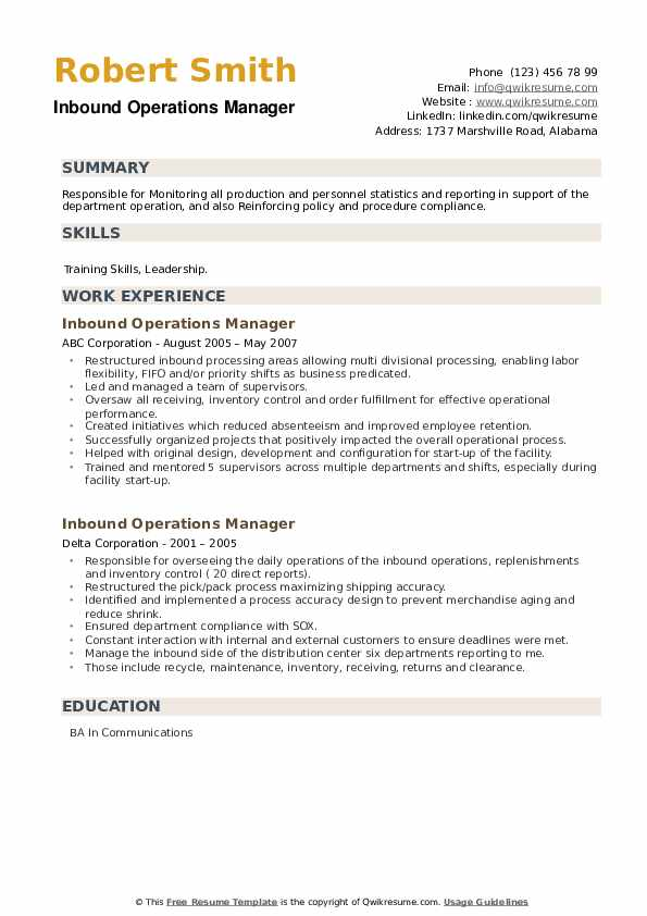 Inbound Operations Manager Resume example