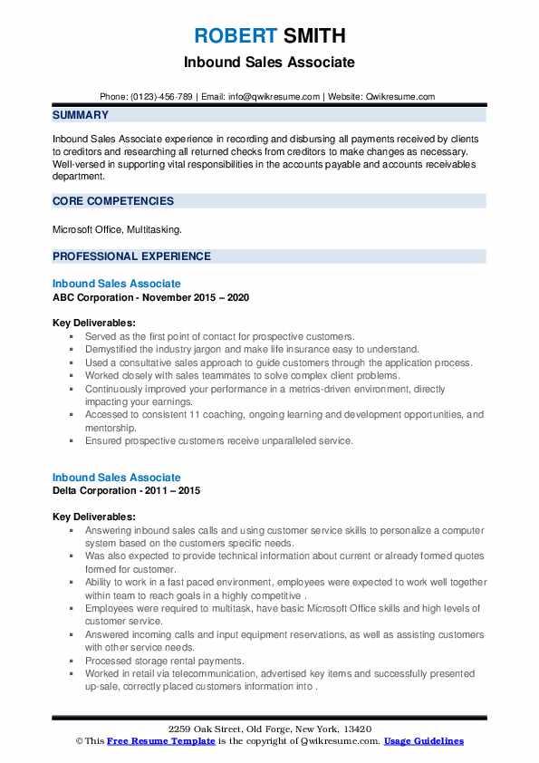 Inbound Sales Associate Resume example