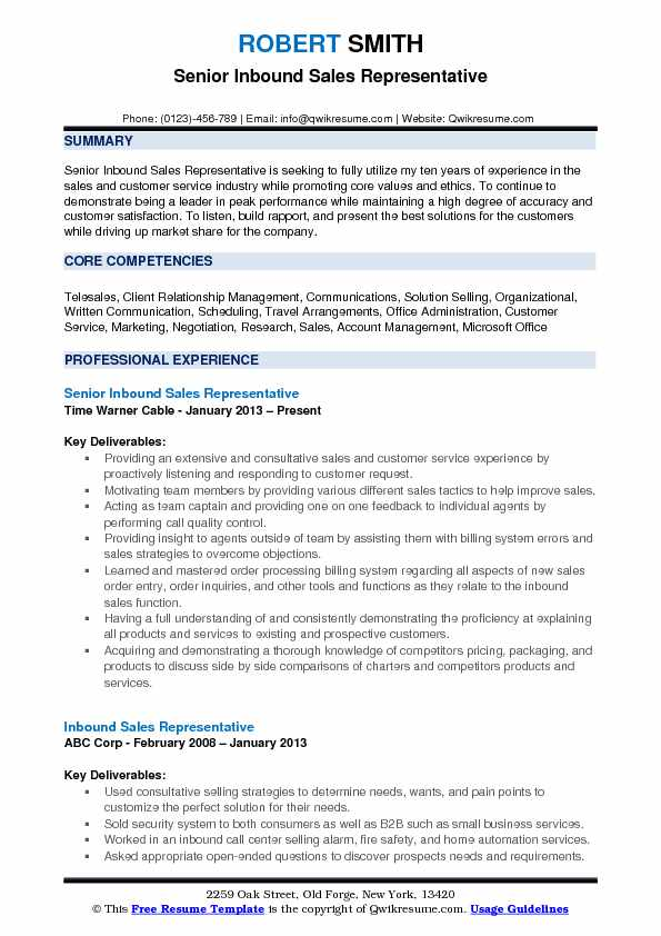 Senior Inbound Sales Representative Resume Example