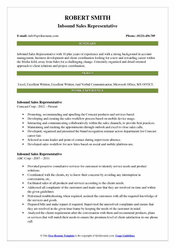 Inbound Sales Representative Resume Model