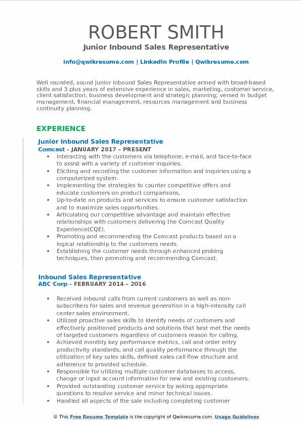 Junior Inbound Sales Representative Resume Template