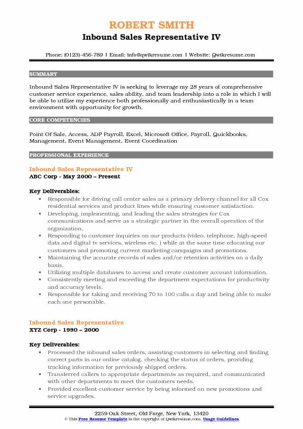 Inbound Sales Representative IV Resume Template