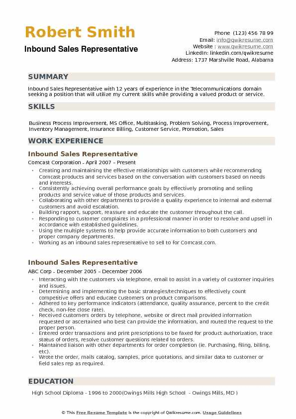 Inbound Sales Representative Resume example