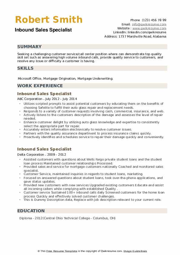 Inbound Sales Specialist Resume example