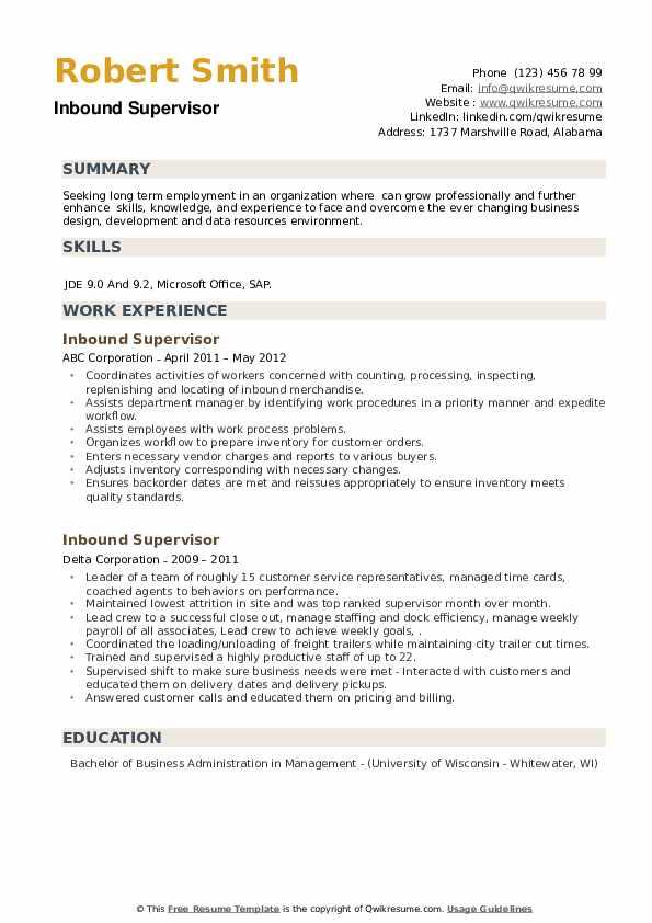 Inbound Supervisor Resume example