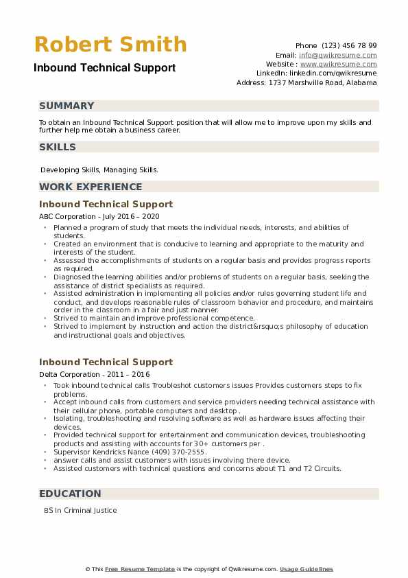 Inbound Technical Support Resume example