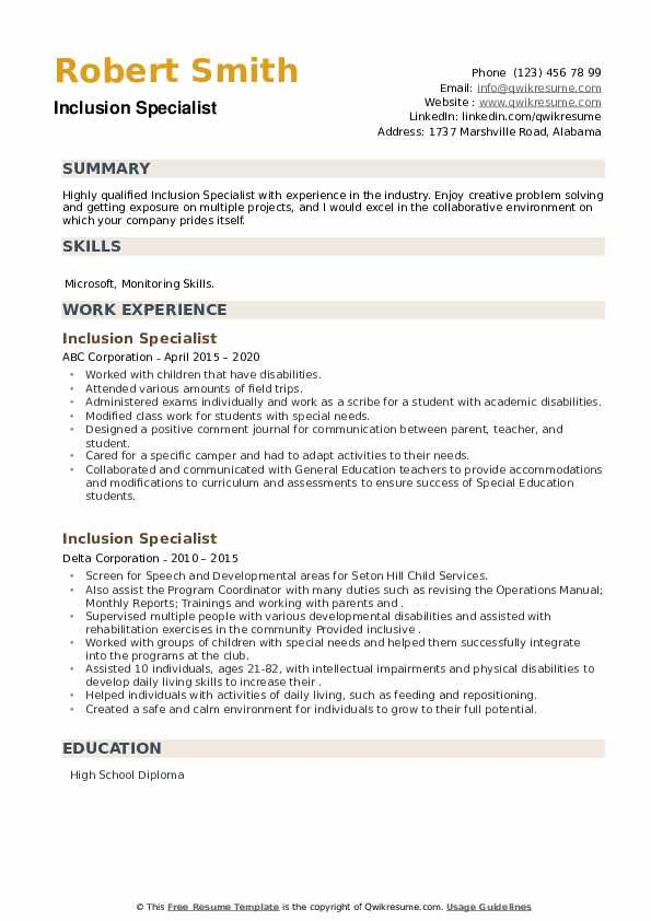 Inclusion Specialist Resume example