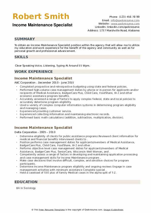 Income Maintenance Specialist Resume example