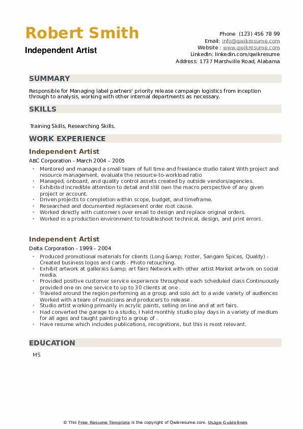 Independent Artist Resume example