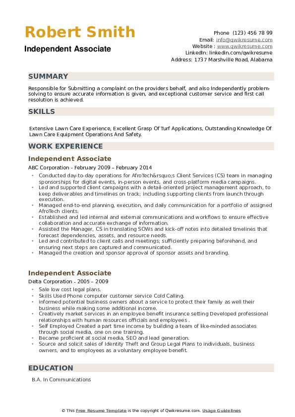 Independent Associate Resume example