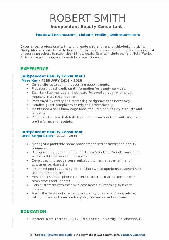independent beauty consultant resume samples  qwikresume