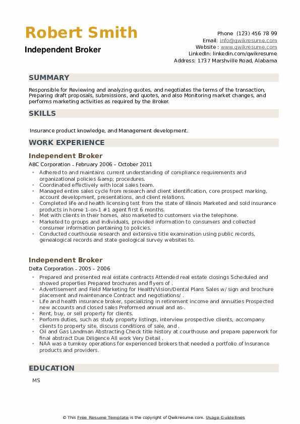 Independent Broker Resume example