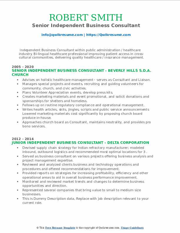 independent business consultant resume samples  qwikresume