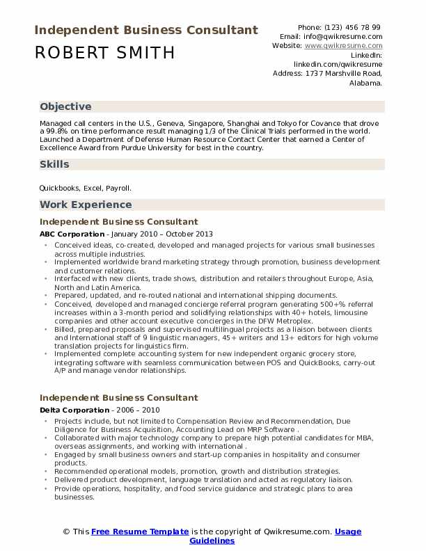Independent Business Consultant Resume example