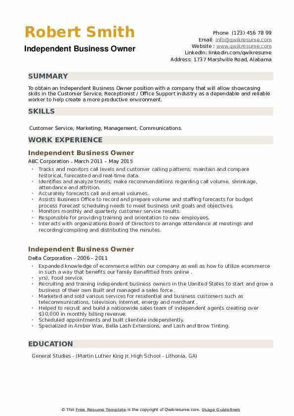 Independent Business Owner Resume example