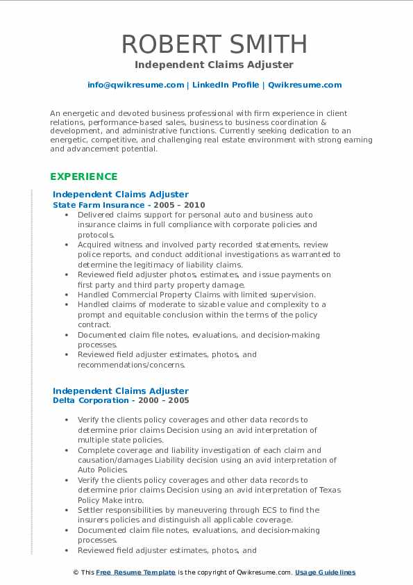 Independent Claims Adjuster Resume Samples | QwikResume