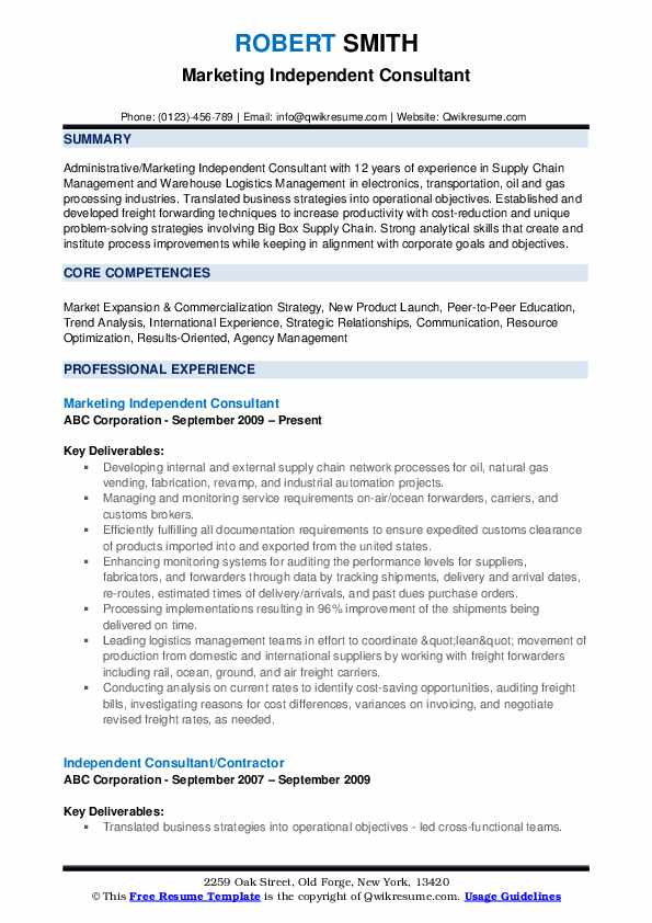 Marketing Independent Consultant Resume Sample