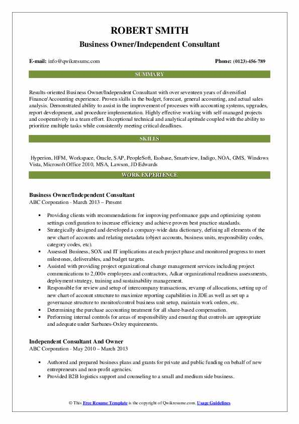 Business Owner/Independent Consultant Resume Example