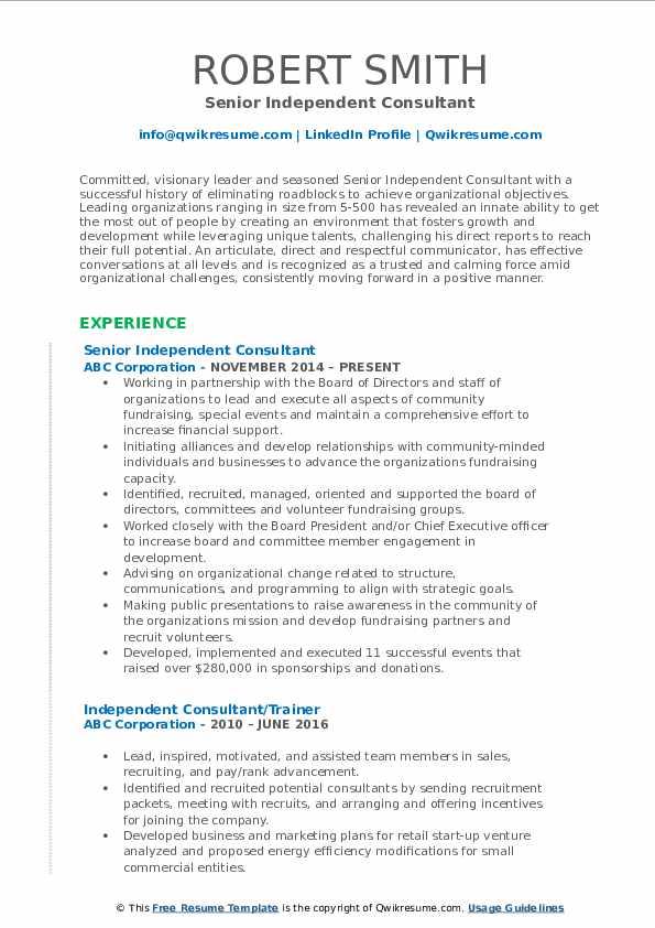 Senior Independent Consultant Resume Format