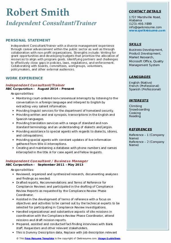 Independent Consultant/Trainer Resume Model