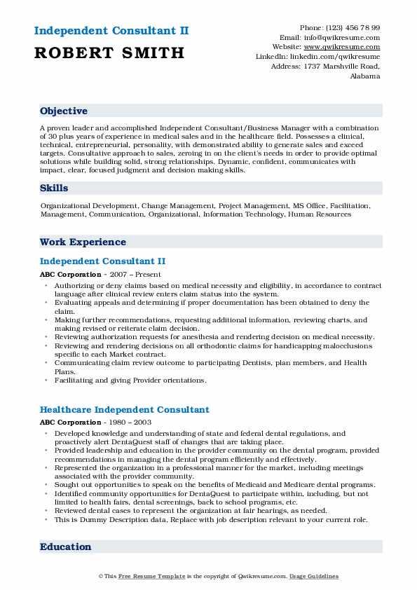 Independent Consultant II Resume Format