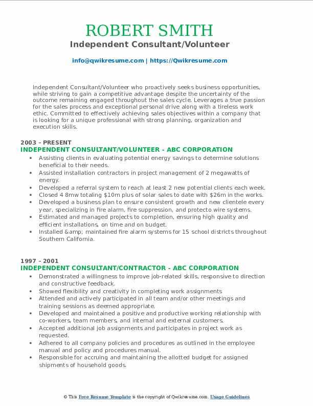 Independent Consultant/Volunteer Resume Example