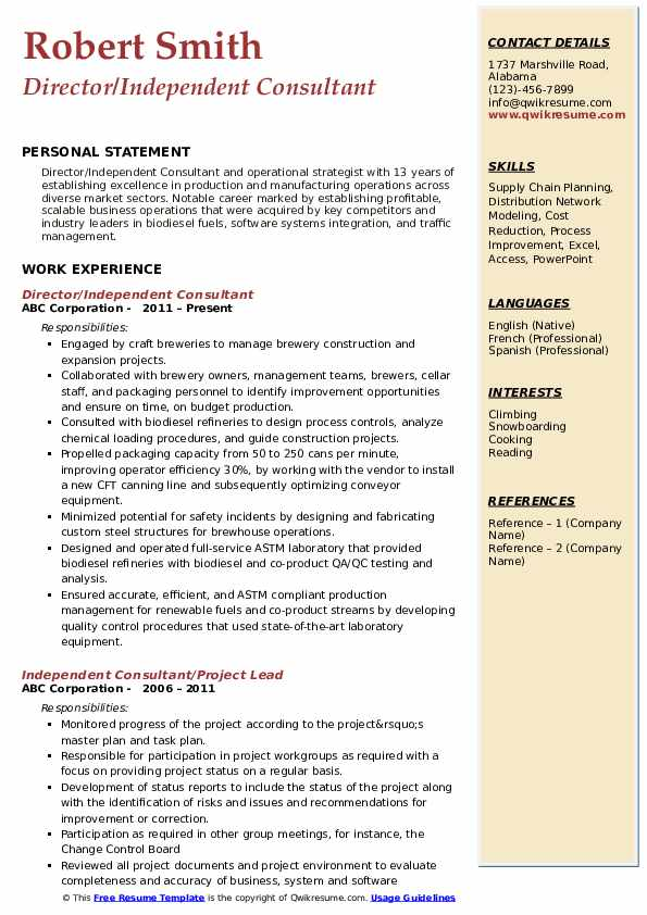 Director/Independent Consultant Resume Format