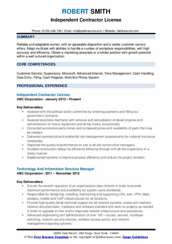 independent contractor resume samples