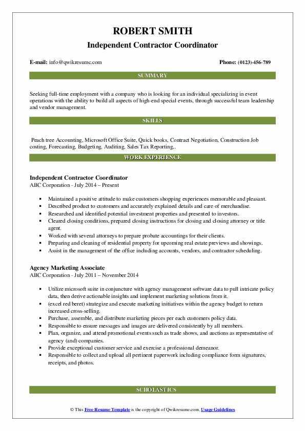 Independent Contractor Coordinator Resume Format