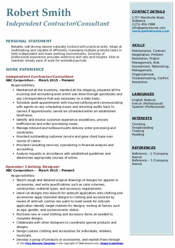 Independent Contractor/Consultant Resume Format