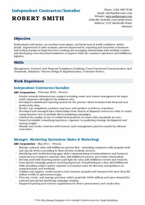 Independent Contractor/Installer Resume Sample